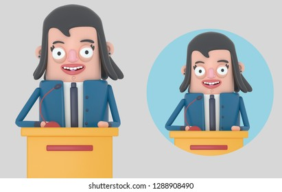 Businesswoman giving a meeting. Isolated. 3D illustration