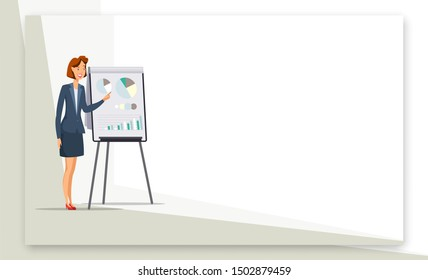Businesswoman giving presentation web banner. Woman presenting project poster with copyspace. Female office worker cartoon character. Graphs, diagrams on flipchart. Coach on seminar. Raster copy