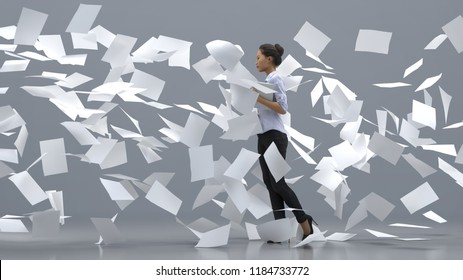 businesswoman going against the paper wind, 3d illustration