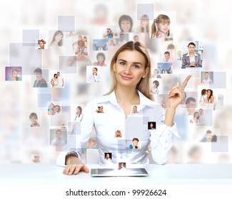 Businesswoman making presentation against social network background