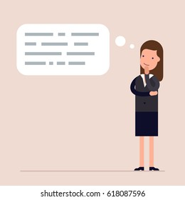Businesswoman or manager thinks. Abstract text in speech bubble. Concept of the thought process. Flat characte in cartoon style.