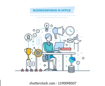 Businesswoman in office. Businesswoman working at work desk. Workflow control, project management, evaluation, analysis of data, achievement of successful outcome. Illustration thin line design.