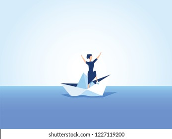 Businesswoman on a sinking ship, paper boat. Symbol of bankruptcy, failure but also new beginning, overcoming challenge illustration. Business concept of failure and difficulty risk
