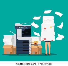 Businesswoman in pile of papers. Office multifunction machine. Bureaucracy, overwork, office. Printer copy scanner device. Proffesional printing station. illustration flat style raster version