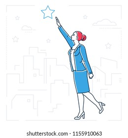 Businesswoman reaching out the star - line design style isolated illustration on white background. Metaphorical image of a woman, girl, female trying to touch the sky, pursuing her goal