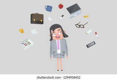 Businesswoman relaxing looking at office accesories. Isolated. 3d illustration