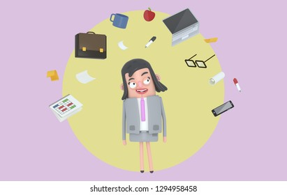 Businesswoman relaxing looking at office accesories. Background. Isolated. 3d illustration