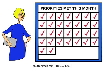 Businesswoman standing with smile beside chart showing priorities.