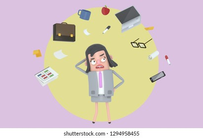 Businesswoman stressing looking at office accesories. Background. Isolated. 3d illustration
