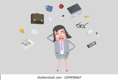 Businesswoman stressing looking at office accesories. Isolated. 3d illustration