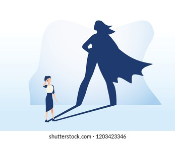Businesswoman with superhero shadow. Business symbol of emancipation ambition, success and motivation of leadership, courage and challenge illustration. Feminism and equal rights