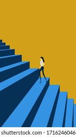 Businesswoman walking to achievement career, 3d rendering