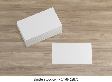 Bussiness card mockup.Bussiness cards on wood background. Template. - 3d render