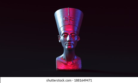 Bust of Nefertiti with Pink and Blue Moody 80s lighting 3d illustration 3d render
