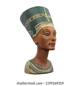 Bust of Queen Nefertiti Isolated. 3D rendering
