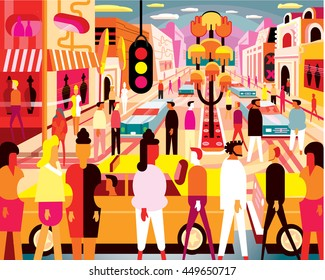 Busy City Illustration in Bright Colors with people and cars
