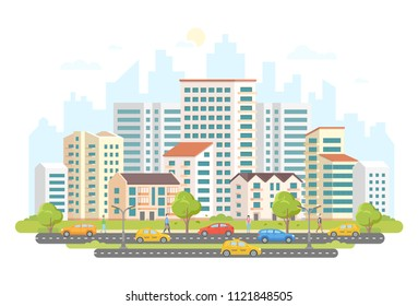 Busy street life - modern colorful flat illustration on white background. A housing complex with skyscrapers and small buildings, trees, cars and taxis on the road, a lot of people walking