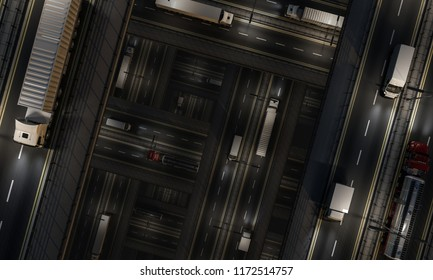 Busy Traffic on Intersecting Roads at Night 3d rendering