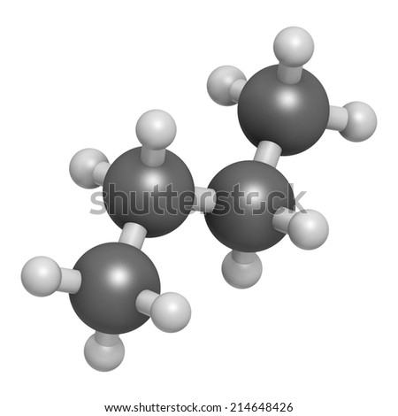 Butane Hydrocarbon Molecule Commonly Used Fuel Stock Illustration