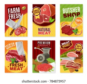 Butcher cartoon banners set with fresh meat symbols isolated  illustration