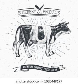 Butcher Shop vintage emblem beef meat products, butchery Logo template retro style. Vintage Design for Logotype, Label, Badge and brand design. illustration.