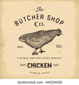 Butcher Shop vintage emblem, chicken meat products, butchery Logo template retro style. Vintage Design for Logotype, Label, Badge and brand design. illustration.
