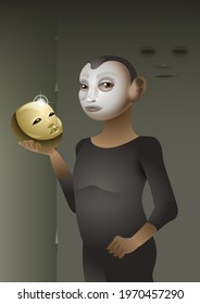 A butoh dancer with a golden mask in his hand. digital illustration