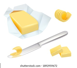 Butter. Margarine breakfast milk butter for cooking food realistic pictures collection