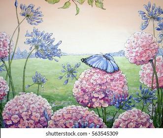 Butterflies and flowers, oil paintings