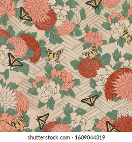 Butterflies and flowers in a vintage japanese woodblock print style