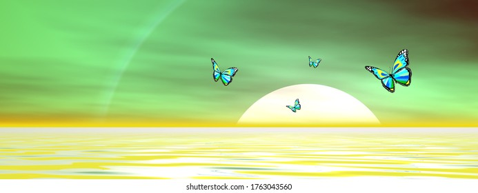 Papillons volant sur l'océan jusqu'au soleil au coucher du soleil - rendu 3D