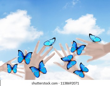 Butterflies on woman's hands. In motion concept isolated on blue sky background. 3D illustration