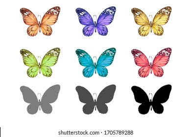 butterflies pattern seamless print textile watercolor hand drawn insects wildlife forest spring, for wallpaper postcards, textiles, business card logo, paper