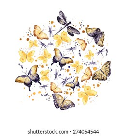 Butterflies. Round pattern. Watercolor background