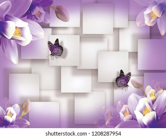 Butterflies with violet flowers on white squares background. Stereoscopic 3d image for a wallpaper.