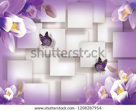 Butterflies Violet Flowers On White Squares Stockillustration