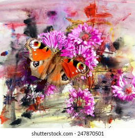Butterfly and abstract acrylic painting on paper, mixed media background