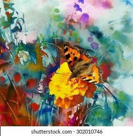 Butterfly and abstract watercolor painting, mixed media background