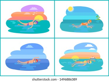 Butterfly and backstroke styles set raster. Swimming professionals training in water, active people. Breaststroke and freestyle exercises of strokes