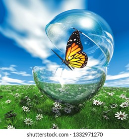 butterfly  in a bubble in the meadow 3D illustration