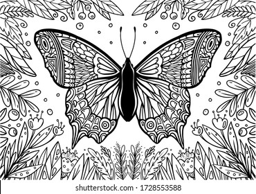 Butterfly coloring book for children and adults.Relaxation.Illustration for art therapy, post card, t-shirt print