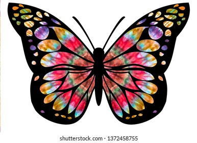 Butterfly design with tie dye colors in the wings