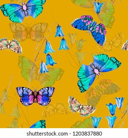 Butterfly floral watercolour illustration pattern