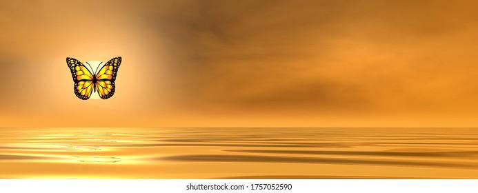 Papillon volant sur l'océan au coucher du soleil - rendu 3D