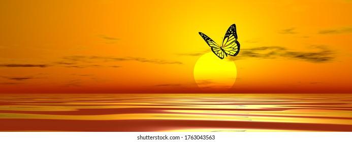 Papillon volant sur l'océan jusqu'au soleil au coucher du soleil - rendu 3D