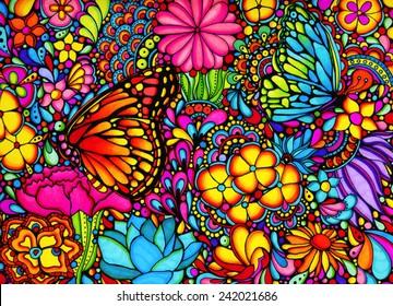 Butterfly Garden - Abstract Illustration, Marker Rendering, Art, Flowers