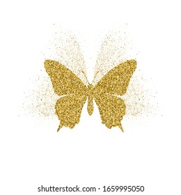 Butterfly golden glitter icon with glitter glow. Beautiful summer golden silhouette on white. For wedding, fashion, ornaments, tattoo, luxury decorative design elements illustration