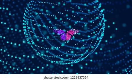 Butterfly inside a digital environment