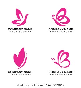 butterfly logo template minimalis - icon