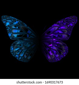 Мetal butterfly on the black background. Mystical insects. Blue foil print on black background.
